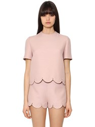 Valentino Wool And Silk Crepe Top W Scalloped Hem