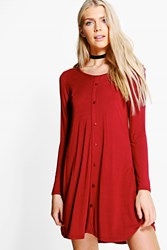 Boohoo Long Sleeve Button Swing Dress Ruby