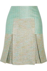 Richard Nicoll Pleated Metallic Jacquard Skirt