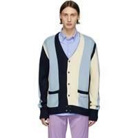Noon Goons Blue And Navy Striped The Droogs Cardigan