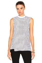 Frame Denim Sleeveless Overlap Top In White Stripes White Stripes