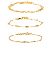 Ettika Mixed Bracelet Set Metallic Gold