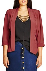 City Chic Plus Size Women's Drapey Chiffon Sleeve Jacket Marsala