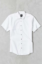 Publish Grady Raw Hem Short Sleeve Button Down Shirt White
