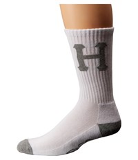 Huf Classic H Crew Sock White Grey Crew Cut Socks Shoes
