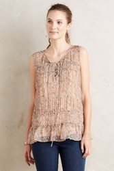 Anthropologie Lace Up Ruched Tunic Neutral Motif
