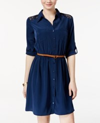 Amy Byer Bcx Juniors' Lace Trim Shirtdress With Belt Navy