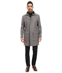 Cole Haan Pressed Melton Wool Topper With Faux Fur Collar Light Grey Men's Coat Gray