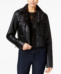 Guess Suki Faux Fur Trim Faux Leather Jacket Jet Black