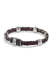 David Yurman Cable Collectionsterling Silver And Leather Bracelet Brown Silver
