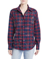 Libertine Chinoiserie Button Front Classic Plaid Cotton Shirt Multi