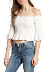 Moon River Smocked Off The Shoulder Top White