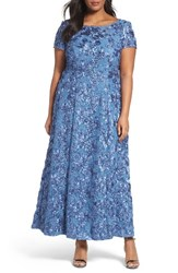 Alex Evenings Plus Size Women's Rosette Lace Short Sleeve A Line Gown Brushed Periwinkle