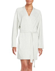 Flora Nikrooz Embroidered Fleece Lined Robe Light Heather Grey