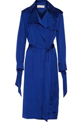 Emilio Pucci Belted Satin Trench Coat Royal Blue