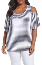 Foxcroft Plus Size Women's Cold Shoulder Top Navy