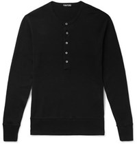Tom Ford Ribbed Cotton Jersey Henley T Shirt Black