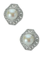 Imperial Pearls Sterling Silver 8 8.5Mm Freshwater Pearl And White Zircon Textured Cutout Trim Stud Earrings