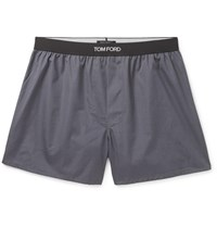 Tom Ford Grosgrain Trimmed Cotton Boxer Shorts Gray