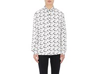 Herman Men's Safety Pin Print Silk Shirt White