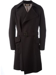 Nuur Belted Patch Pockets Coat Black