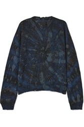 Rta Emma Distressed Tie Dyed Cashmere Sweater Navy