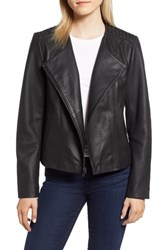 Cole Haan Collarless Leather Jacket Black
