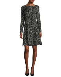 Lela Rose Reversible Long Sleeve Dress Black Ivory Black Ivory