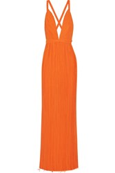 Haider Ackermann Plisse Georgette Wrap Gown Bright Orange