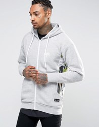 Hype Hoodie With Rose Panels Grey