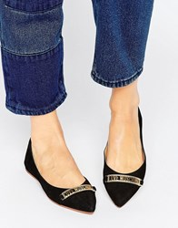 Love Moschino Pointed Ballet Flats Black
