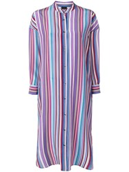 Aspesi Striped Shirt Tunic Dress Purple