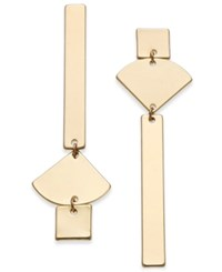 Inc International Concepts Gold Tone Geometric Mismatch Linear Drop Earrings Created For Macy's