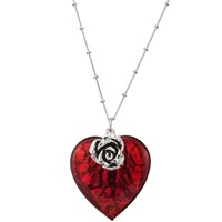Martick Bohemian Glass Heart Pendant Necklace Red