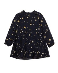 Mayoral Pleated Star Print Long Sleeve Dress Blue