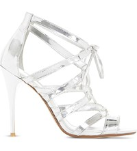 Dune Mila Ghillie Lace Up Sandal Silver Synthetic