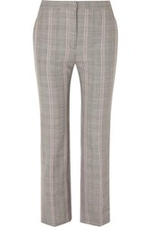 Alexander Mcqueen Cropped Prince Of Wales Checked Woven Straight Leg Pants Gray