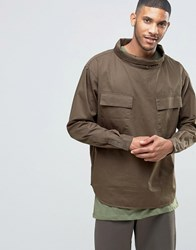 Asos Military Overhead Shirt With Funnel Neck In Khaki Khaki Green