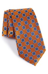 Nordstrom Men's Men's Shop Net Grid Silk Tie Orange