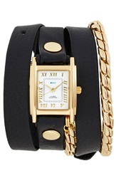 La Mer Leather And Chain Wrap Watch 19Mm Black Gold