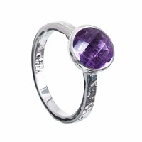 Neola Estella Sterling Silver Stacking Ring Amethyst