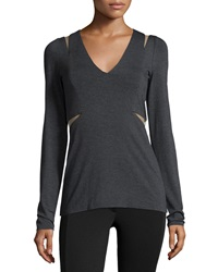 Bailey 44 Midtown Mesh Cutout Top Anthracita Gray