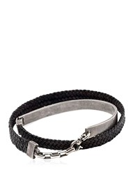 Title Of Work Silver Cuff And Braided Leather Bracelet