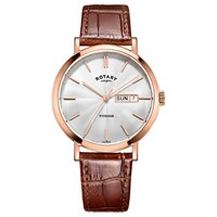 Rotary Gs05304 02 Men's Windsor Day Date Leather Strap Watch Tan Silver