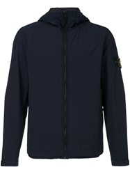 Stone Island Zip Up Waterproof Jacket Men Cotton Polyamide Polyester Resin Xl Blue