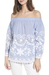 Blank Nyc Blanknyc Embroidered Off The Shoulder Top Blue White Stripe