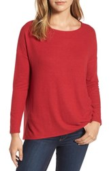 Gibson Women's Cozy Fleece Ballet Neck High Low Pullover Red Chili