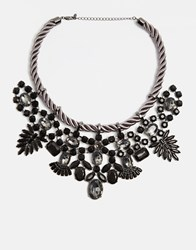 Oasis Spike And Stone Statement Collar Necklace Grey