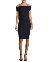 Guess Textured Off The Shoulder Knit Dress Navy