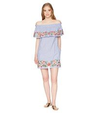Miss Me Off The Shoulder Flower Embroidery Dress Blue